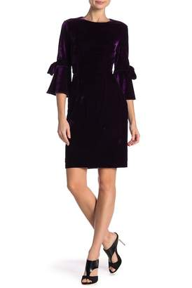 Donna Morgan Half Sleeve Bell Sleeve Velour Dress
