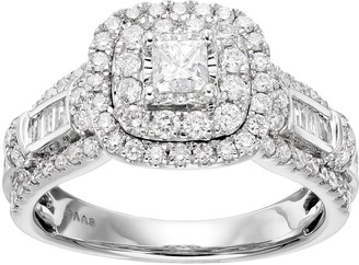 Vera Wang Simply Vera 14k White Gold 1 1/4 Carat T.W. Diamond Square Halo Engagement Ring