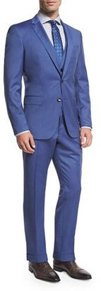 BOSS Wool Three-Piece Suit, Light Blue $945 thestylecure.com