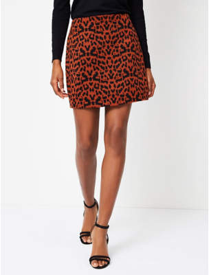 George Red Leopard Print A-Line Skirt