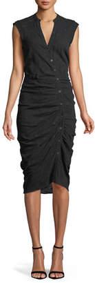 Veronica Beard Sleeveless Button-Down Ruched Dobby Cotton Shirtdress