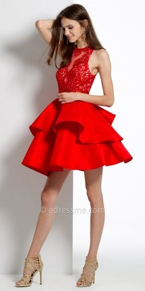 Camille La Vie Beaded Illusion Tiered Homecoming Dress $190 thestylecure.com