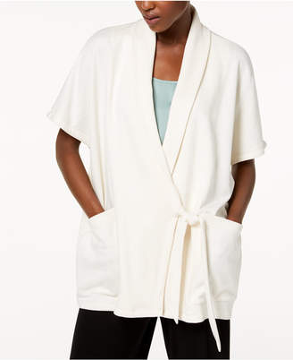 Eileen Fisher Organic Cotton Blend Draped Kimono Wrap Jacket