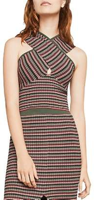 BCBGMAXAZRIA Crossover Striped Cropped Top