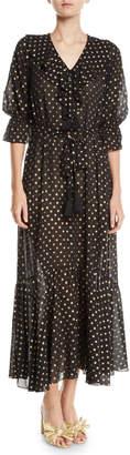 Figue Nyla Golden-Polka Dot Georgette Maxi Dress