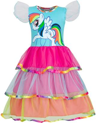 My Little Pony LEMONBABY Rainbow Fancy Dress Girls Cartoon Childs Kids Costume Outfit (7-8y, )