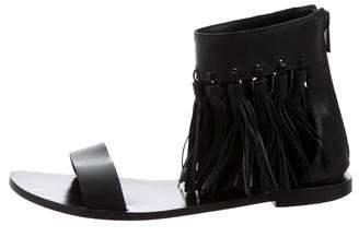 Loeffler Randall Fringed Ankle-Strap Flats