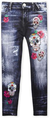 N. Malibu Sugar (Girls 7-16) Denim & Skull Print Leggings