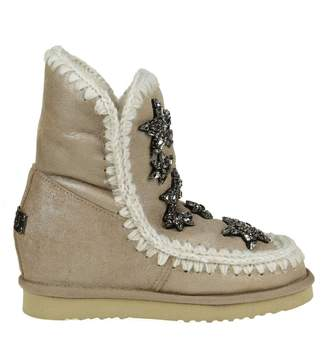 Mou Sneakers inner Wedge Beige Leather With Decoration Crystal Applied