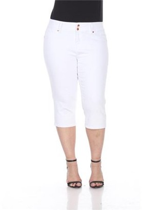 White Mark Women's Plus Size White Capri Jeans