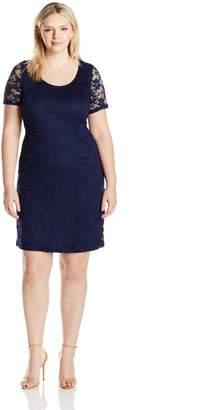 Tiana B Women's Plus Size Short Sleeve Diasy Lace Shift Dress