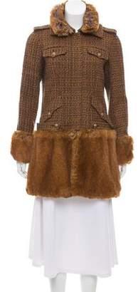 Chanel Fantasy Faux Fur-Trimmed Tweed Coat