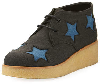 Stella McCartney Wendy Star-Patched Denim Platform Sneakers, Toddler/Youth Sizes 10T-5Y
