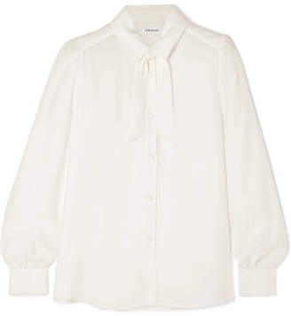 fa35109dedf0b Frame Pussy-bow Washed-silk Blouse - Off-white