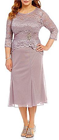 Alex EveningsAlex Evenings Plus Tea-Length Mock 2-Piece Dress
