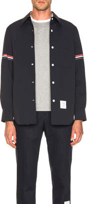 Thom Browne Snap Front Shirt Jacket in Navy | FWRD