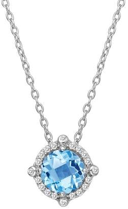 Lafonn Platinum Plated Sterling Silver Prong Set Aquamarine Simulated Diamond & Pave Halo Round Pendant Necklace