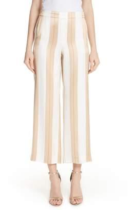 St. John Satin Twill Stripe Straight Leg Pants