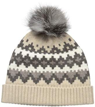 Sofia Cashmere Women's 100% Cashmere Graphic Fairisle Hat With Fox Fur Pom