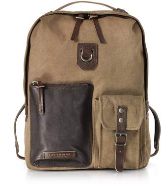 The Bridge Carver-d Canvas And Leather Men's Backpack W/top Zip