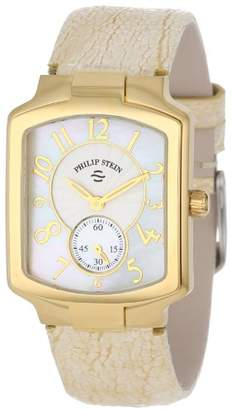Philip Stein Teslar Women's 21GP-FW-OG Gold-Plated Watch with Gold and Cream Leather Strap