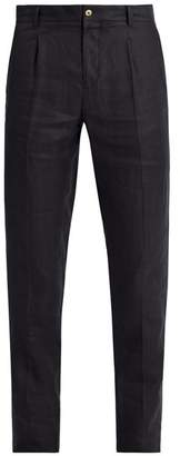 De Bonne Facture - Pleated Front Tapered Leg Linen Trousers - Mens - Navy
