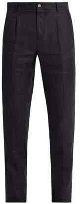 De bonne facture De Bonne Facture - Pleated Front Tapered Leg Linen Trousers - Mens - Navy
