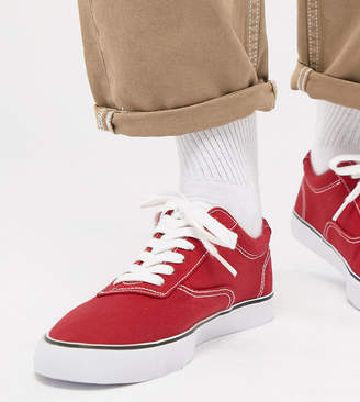 Asos DESIGN Wide Fit oxford plimsolls in red canvas