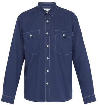 Schnaydermans Schnayderman's - Topstitched Double Patch Pocket Shirt - Mens - Blue