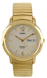 Timex Men's Watch with Goldtone Expansion Bandand White Dial $49 thestylecure.com