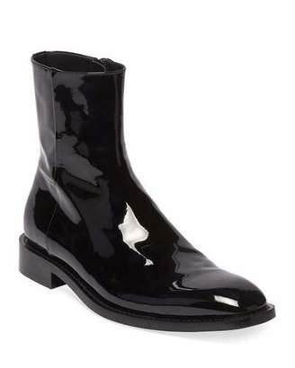 Balenciaga Men's Rim Patent Leather Chelsea Boots