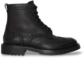 Burberry Brogue Detail Grainy Leather Boots