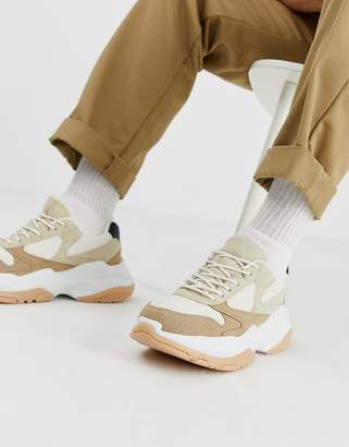 Asos Design DESIGN sneakers in stone and gum with chunky sole