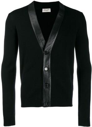 Saint Laurent cashmere leather panelled cardigan