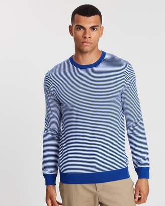 Ams Blauw Regular Fit Crew Neck Knit In Cotton Cashmere
