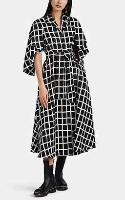 AKIRA NAKA Women's Checked Silk Shirtdress - Black