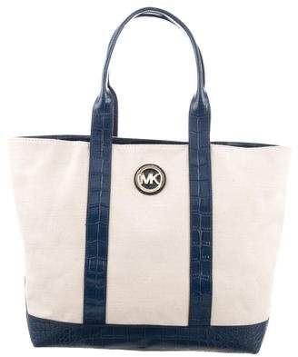 Pre Owned At Therealreal Michael Kors Leather Trimmed Canvas Tote