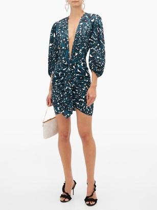 Alexandre Vauthier Leopard Print Silk Blend Satin Mini Dress - Womens - Blue Print