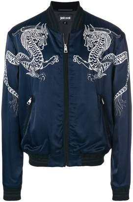 Just Cavalli dragon embroidered bomber jacket