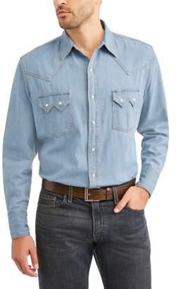 Plains Big And Tall Men's Long Sleeve Bleached Denim Shirt