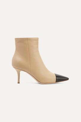 Gianvito Rossi 70 Two-tone Leather Ankle Boots - Beige