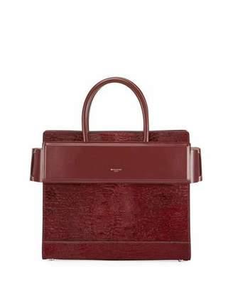 Givenchy Horizon Small Astrakhan-Embossed Leather Satchel Bag, Red