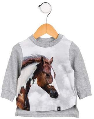 Molo Girls' Long Sleeve Horse Print Top w/ Tags