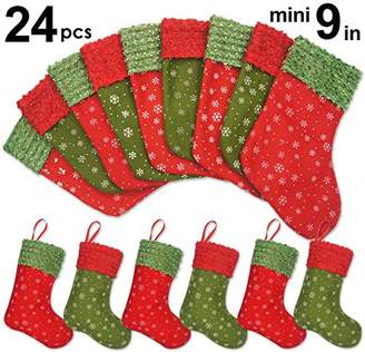 """Ivenf 24 Pack 9"""" Snowflake Mini Christmas Stockings Gift Card Bags Holders"""