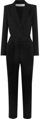 IRO Delicate Belted Wrap-effect Crepe Jumpsuit - Black