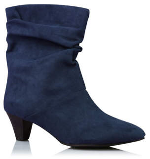 George Navy Ruched Heeled Boots