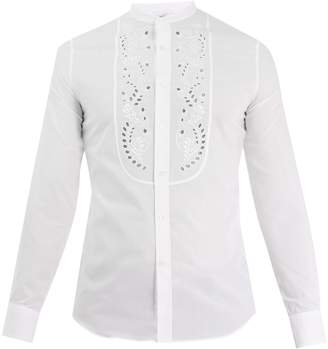 Alexander McQueen Leaf-embroidered mandarin-collar cotton shirt