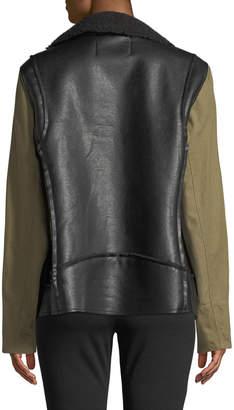 Rachel Roy Canvas-Sleeve Faux-Leather Moto Jacket, Plus Size