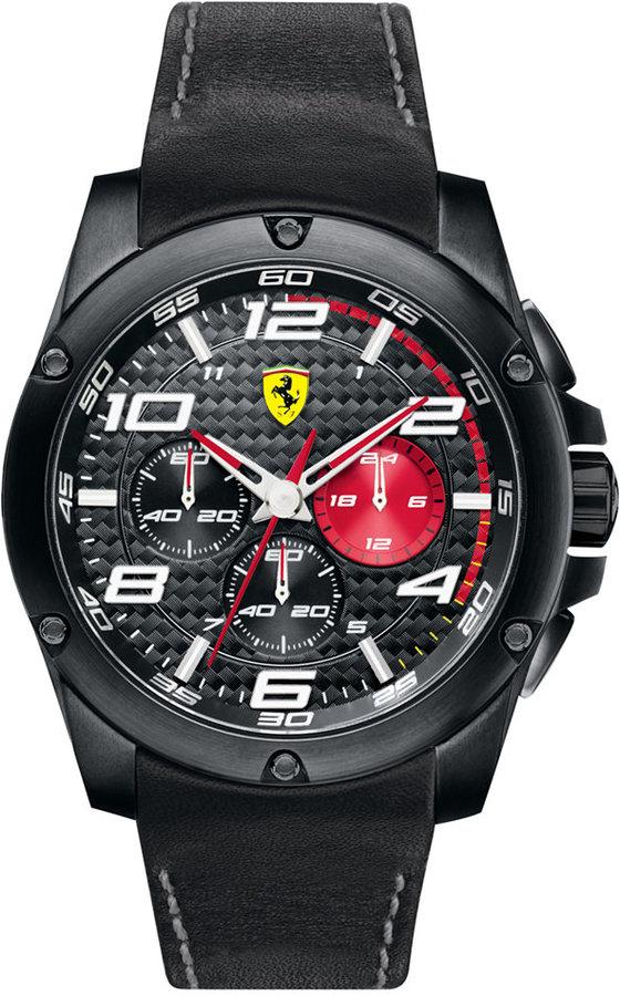 Scuderia Ferrari Watch, Men's Chronograph Paddock Black Leather Strap 46mm 830030