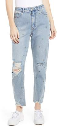 Tinsel Embroidered Ripped Mom Jeans